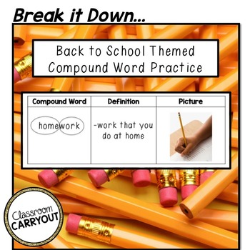 Compound Words BACK TO SCHOOL Freebie by Classroom Carryout | TpT