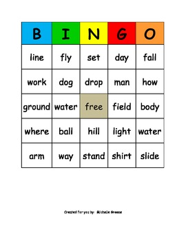 Compound Words Bingo Kit