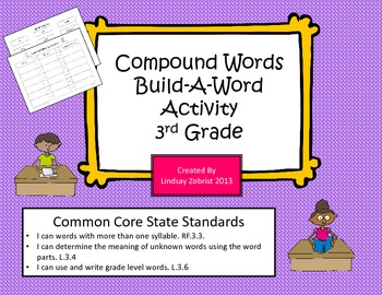 Compound Words: Build A Word 3rd Grade Common Core Sorting Activity
