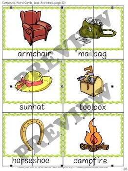 Compound Words: Cards, Activities, Worksheets [Phonological Awareness]