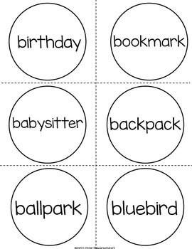 Mitten Compound Words Centers and Games