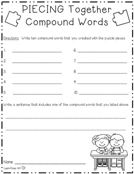 Compound Words Center Activity: Piecing Together Word Puzzles