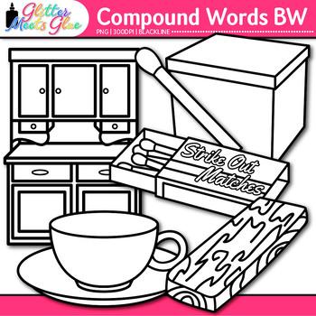 Closed Compound Word Clip Art {Swordfish, Matchbox, Pinwheel, Hotdog} B&W