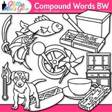 Closed Compound Word Clip Art: ELA Graphics B&W {Glitter Meets Glue}
