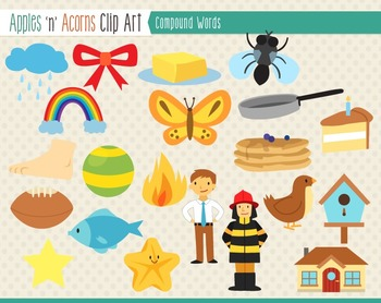 Compound Words Clip Art - color and outlines