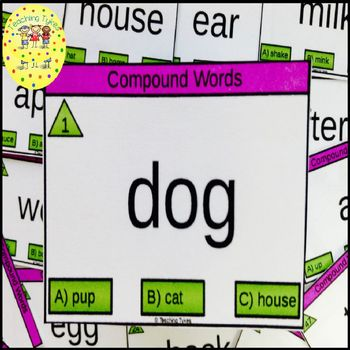 Compound Words Clip Task Cards