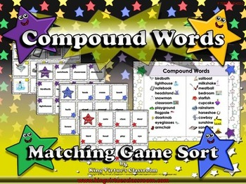 Compound Words: Compound Words Matching Game Sort #2 Words