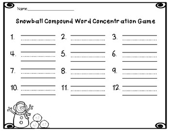 Snowball Fight Compound Word Game