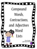 Compound Words, Contractions and Adjectives Word Lists