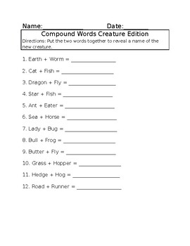 Compound Words Creature Edition
