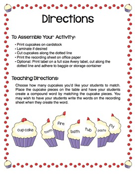 Compound Words Cupcakes