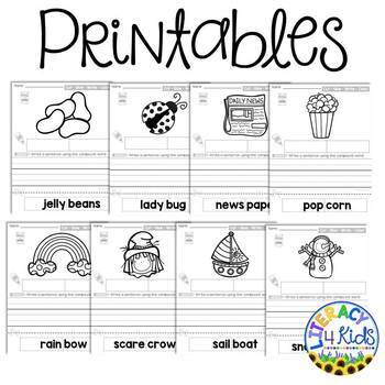 Compound Words Cut, Glue, Write, and Color Printables