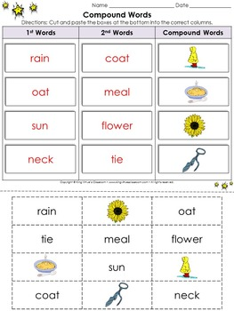 Compound Words Cut and Paste Activity #1 - King Virtue's Classroom