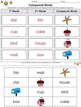 Compound Words Cut and Paste Activity #2 - King Virtue's Classroom