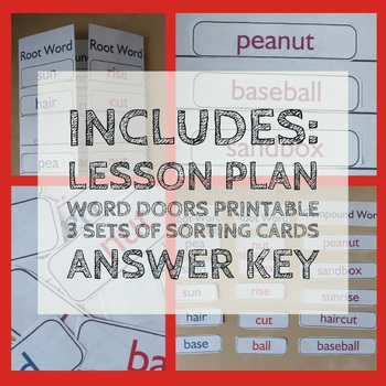 Compound Words Door - Language Lessons and 3 Sorting Card Set- Printables