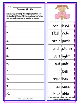 Compound Words FREE  Cut and Paste Activity ~ Great Litera