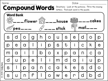 Compound Words Fill-in-and-Find Word Search Puzzles