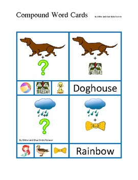 Compound Words Flashcards (Rebus-Style)