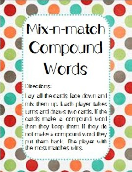 Compound Words Folder Learning Center