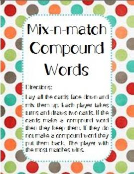 Compound Words Folder Learning Center