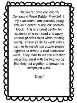 Compound Words Freebie