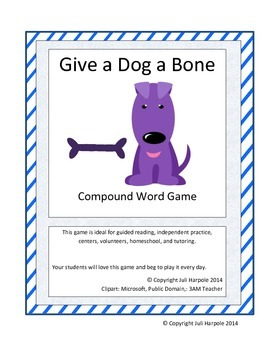 Compound Words Game - Give a Dog a Bone