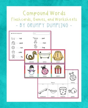 Compound Words - Games, Flash Cards, Tracing Books, and Flip Books