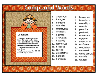 Compound Words Literacy Center Activity: Fall