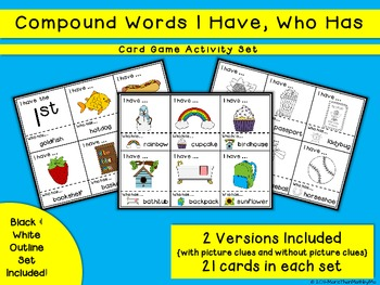 Compound Words I Have, Who Has Card Game and Activity Set
