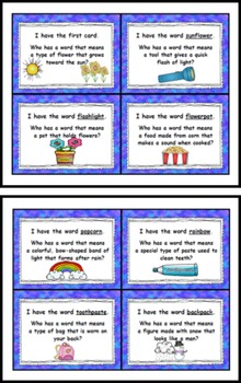 """Compound Words """"I Have Who Has"""" Read Around Game"""