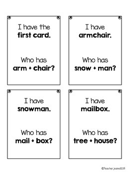 Compound Words - I  have, who has game cards (with and without pictures)