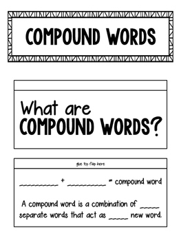 Compound Words Interactive Notebook