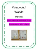 Compound Words Interactive Notebook Sheet and Assessment