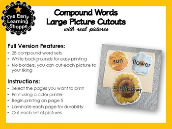 Compound Words Large Picture Cutouts With Real Pictures 28 Sets