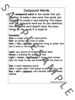Compound Words 2nd grade Compound words activities compound words worksheet