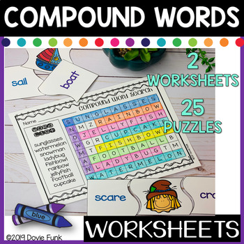 TWO Compound Words Word Search Worksheets PLUS 25 Literacy Center Puzzles