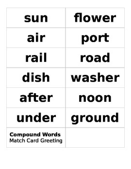 Compound Words Match Card Greeting