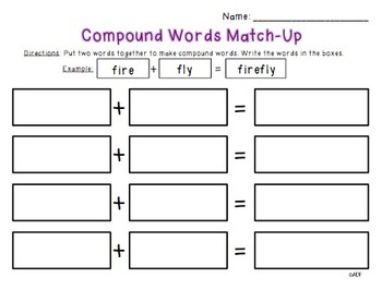 Compound Words Match-Up
