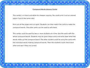 Compound Words Mini Literacy Center