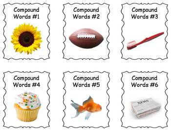 Compound Words Photo Task Cards Center