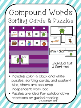 Compound Words - Picture Sorting Cards & Puzzles (COLOR & BW)