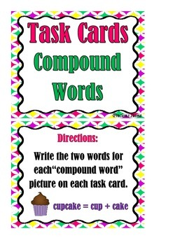Compound Words and Pictures - Task Cards