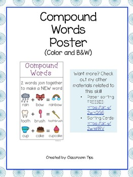 Compound Words Poster (Color & Black and White)