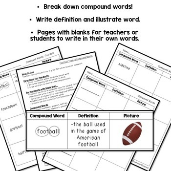 Compound Words Practice Graphic Organizers FOOTBALL Themed Words