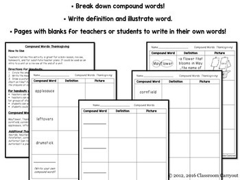 Compound Words Practice Worksheets Thanksgiving Themed Words