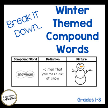 Compound Words Practice Worksheets Winter Themed Words
