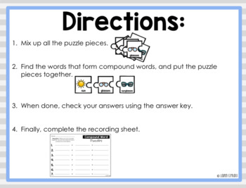 Compound Words Puzzle {Freebie}