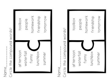 FREEBIE! Compound Words Puzzle Pieces and Assessment