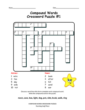 Compound Words   CROSSWORD PUZZLES  Early Finishers NO PREP Vocabulary   Gr. 3-4
