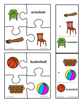 Compound Words Puzzles and Flashcards:  pictures and words for differentiation